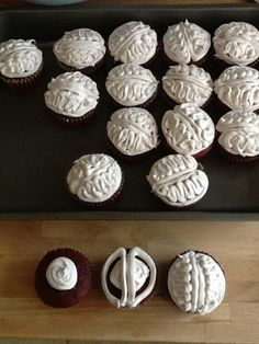 """Brain cupcakes (with a raspberry filling """"blood clot"""" inside)"""
