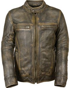 online shopping for Men's Distressed Brown Leather Scooter Jacket w/ Triple Stitch Detailing Motorcycle Jacket - Big) from top store. See new offer for Men's Distressed Brown Leather Scooter Jacket w/ Triple Stitch Detailing Motorcycle Jacket - Big) Brown Leather Motorcycle Jacket, Cafe Racer Leather Jacket, Cafe Racer Jacket, Distressed Leather Jacket, Vintage Leather Jacket, Rugged Style, Vintage Biker, Vintage Men, Vintage Style