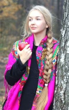 Russian girl in traditional shawl