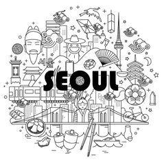 Seoul illust on Behance Web Design, Line Design, Icon Design, Family Tree Art, Korean Design, Ligne Claire, Dibujos Cute, City Illustration, Doodle Designs
