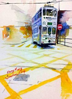 Tram by Saehee Park - Hong Kong, 2014, Watercolor on paper, 18 x 13 cm, www.parksaehee.com