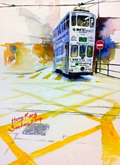 Tram by Saehee Park - Hong Kong, 2014, Watercolor on paper, 18 x 13 cm, www.parksaehee.com