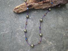 Swarovski Crystals & Green Pearls are by SleepingCatDesigns, $38.00