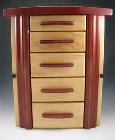 MAPLE AND BLOODWOOD Jewelry Box with secrets & by Ginsjewelbox, $450.00