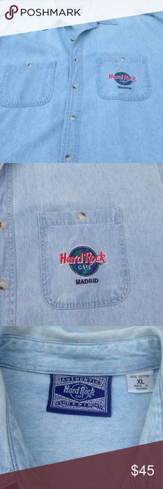 """Hard Rock """"Madrid """" denim shirt This light blue denim shirt was bought in Madrid Spain. It's a mans, but  could easily be worn by a woman. Hard Rock Shirts Casual Button Down Shirts"""