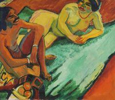 Hermann Max Pechstein (1881 Zwickau - 1955 Berlin) Weib mit Inder auf Teppich (Vorderseite), Früchte II (Rückseite). 1910. Oil on canvas, ...