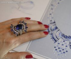 Ballerina inspired 'Blue Carmen' ring by John Rubel featuring an oval natural Ceylon sapphire of around 13 cts