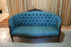 Victorian settee reupholesterd in a teal by GiGisEclecticarmoire Senior Photography Props, Settee, Different Fabrics, Fabric Patterns, Future House, Living Rooms, Love Seat, Accent Chairs, Teal