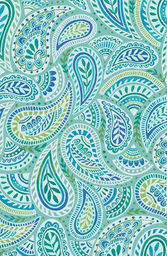 Aqua paisley Art Print by Janet Broxon | Society6
