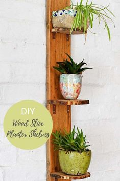 Upcycle wood slices to make simple DIY planter shelves. These shelves have a lovely natural wood edge from the bark of the wood slice. #diyshelf #woodslice Diy Craft Projects, Diy And Crafts, Craft Tutorials, Project Ideas, Wood Projects, Large Wood Slices, Wood Slice Crafts, Rustic Garden Decor, Do It Yourself Furniture