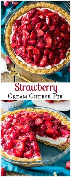 Easy no-bake strawberry cream cheese pie with a simple graham cracker crust, a cream cheese cheesecake layer, and fresh strawberries || Sugar Spun Run via @sugarspunrun