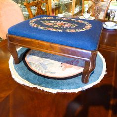 Vintage 1930s Needlepoint On Mahogany Stool 14 x 19 x by FittedFab $95 in Conn.