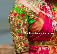 Latest Maggam Work Blouse Designs for Pattu Sarees – South India Fashion Wedding Saree Blouse Designs, Pattu Saree Blouse Designs, Sari Blouse Designs, Fancy Blouse Designs, Wedding Blouses, Magam Work Blouses, Latest Maggam Work Blouses, Silk Blouses, Hand Work Blouse Design