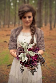 Privit and dusty miller // late fall wedding bouquet