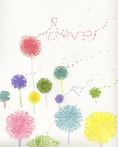 Dandelion love whimsical colorful dandelions by CupofJackie
