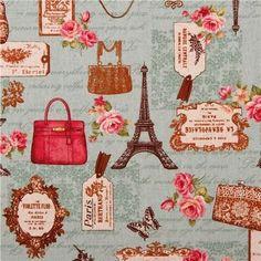 blue retro Paris romance Canvas fabric Cosmo Japan (per yard multiples) Look Vintage, Shabby Vintage, Vintage Paper, Tour Eiffel, Paris Romance, Paris Images, Fabric Roses, Paris Art, Print Wallpaper