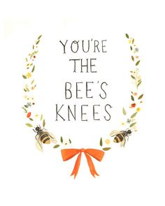 Hand-lettered Typography Art from The Black Apple - The Bee's Knees Print 8x10. $16.00, via Etsy.