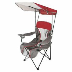 """Perfect for an outdoor concert or campfire retreat, this folding arm chair showcases a cup holder and canopy.  Product: ChairConstruction Material: PolyesterColor: Red, grey and whiteFeatures:  Cup holderCanopyDimensions: 36.5"""" H x 20"""" W"""