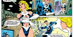 """Sue received an overhauled attitude, and because a strong woman must be a highly sexual one, she also received one of the worst costumes in the history of female superheroes. Just look at that thing. Now, we know that a lot of women in comic books essentially wear swimsuits while doing their superheroing, but Sue Storm's """"4-kini"""" is especially gratuitous"""