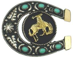 This striking Horseshoe Buckle in German Silver is highlighted by a gold finish…