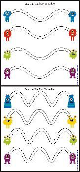 Monster Mazes Free Sample Page:  Print and cut out.  Place the mazes inside a clear CD   case.  Use a wipe off marker to complete each activity