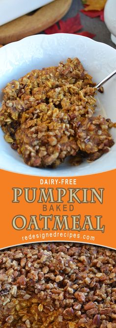 A flavorful Dairy-Free Baked Pumpkin Oatmeal filled with healthy ingredients will put you in the mood for all things Fall! Healthy Breakfast Recipes, Brunch Recipes, Fall Recipes, Gourmet Recipes, Vegan Recipes, Dairy Free Pumpkin Recipes, Fresh Pumpkin Recipes, Healthy Sweets, Baked Pumpkin Oatmeal
