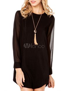 #Black Semi #sheer #Long #Blouse on #Milanoo   #dress #clothes #outfit #ootd #fashion #blogger