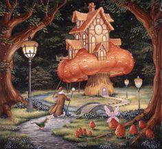Image for Night Visitor Magical Creatures, Fantasy Creatures, Fantasy World, Fantasy Art, Fantasy Places, Fantasy Landscape, Illustrations, Illustration Art, Castle Mural