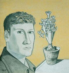 Lucian Freud, Self-Portrait with Hyacinth in Pot, 1947-48, Black, white and yellow crayon on paper Pallant House Gallery (Wilson Gift through The Art Fund, 2004) © The Lucian Freud Archive