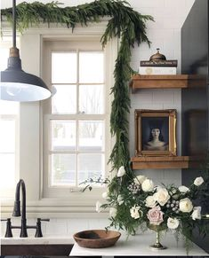 Love the white subway and countertops with the light beige window trim. Christmas Kitchen, Christmas Holidays, Christmas Decorations, Christmas Things, Cozy Christmas, Holiday Decorating, Design Commercial, Barn Kitchen, Decor Crafts
