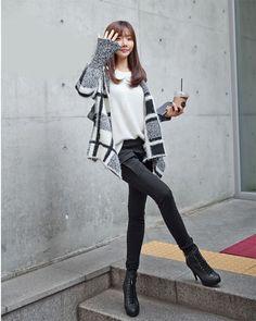 Women Irregular Asymmetric Knit Open Cardigan Crochet Plaids Pullover Winter