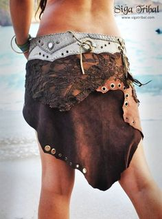 SigaTribal brown leather & lace tribal belt skirt hand-made