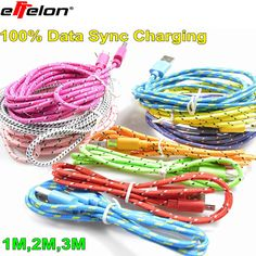 Effelon 1M 2M 3M Braided Wire Micro USB V8 Cable USB Data Sync Fabric Woven Charger for Smart Phone for tablet PC