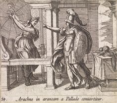"""Antonio Tempesta, """"Arachne in araneam a Pallade convertitur (Athena Changing Arachne into a Spider)"""",1606, This image depicts Minerva turning Arachne into a spider after Arachne tries to hang herself. It is interesting that Minerva's arm is outstretched perhaps that is the artist's way of depicting her sprinkling Hecate's herb on Arachne."""