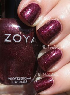 Zoya Fall 2014 Ignite Collection Swatches & Review. India is a dark burgundy with orange and purple shimmer.