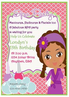 spa party invitation pink quaterfoil invitation african american girl party invitation pampering party - Pamper Party Invitations