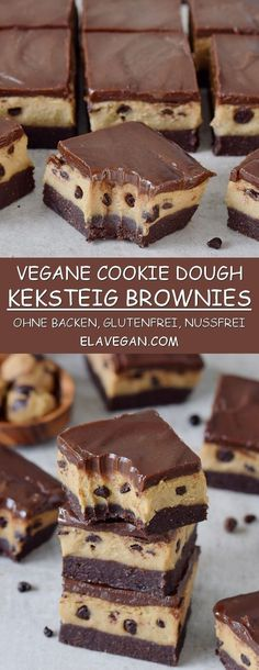 fudgy no-bake cookie dough bars are chocolatey, rich, and gooey! - Desserts -These fudgy no-bake cookie dough bars are chocolatey, rich, and gooey! Cookie Dough Vegan, Biscuit Vegan, No Bake Cookie Dough, Cookie Dough Recipes, Desserts With Cookie Dough, Gluten Free Cookie Dough, Protein Cookie Dough, Brownie Recipes, Brownie Cookies