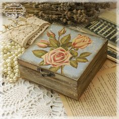 Box for jewelry Rose bouquet Vintage look wooden by Alenahandmade, $30.00