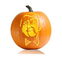 Crazy Donald Trump makes an awesomely scary pumpkin carving stencil.