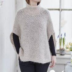 Istex Poncho i pladegarn Knitting Projects, Knitting Patterns, Yarn Inspiration, Knitting For Beginners, Crochet Clothes, Knit Crochet, Crochet Tops, Knitwear, Winter Fashion