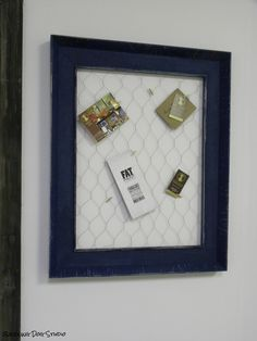 memo board frame- done in our Fat Paint. Indigo and Caribbean Blue