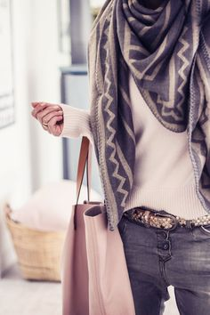 scarf + gray denim