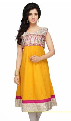Cherish the exotic present by stepping into this yellow shade cotton embroidered kurti. The lace and resham work appears to be like chic and ideal for any party. #FancyClassicTunic