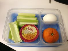 Celery and humus, hard boiled egg, clementine