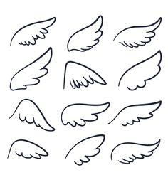 Cartoon angel wings winged doodle sketch icons vector image on VectorStock Angel Wings Art, Cartoon Angel Wings, Angel Wings Drawing, Bird Wings, Angel Drawing Easy, Doodle Sketch, Doodle Art, Drawing Sketches, Easy Drawings