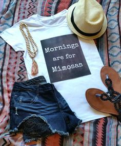 Mornings are for mimosas quote t-shirt available in by StarrJoy16