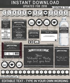 Editable Graduation Party Printables, Invitations and Decorations | Class of 2017 | Silver Glitter and Chalkboard | Printable DIY Templates | $12.50 INSTANT DOWNLOAD via SIMONEmadeit.com