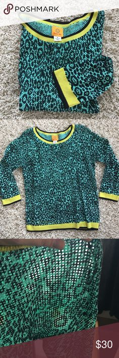 Cheetah Print 3/4 Sleeve Sweater EUC. Size M. Worn once. True to size. Relaxed fit. Ruby Rd. Bright & fun cheetah sweater! Last picture shows the sheerness. 100% cotton. Lightweight, conversation starter. 3/4 sleeve. Fits a 36B. OFFERS ARE WELCOMED 😊 Ruby Rd.  Tops