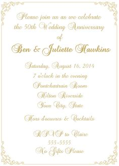 50th Wedding Anniversary Invitation by celebrationspaperie on Etsy, $11.50