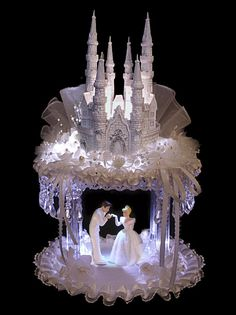lighted wedding cinderella cake topper | Details about Lighted Cinderella & Prince Castle Weddng Cake Topper